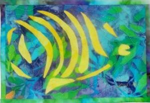 "Fractured Fish (Sea Images #1), 8 1/4"" x 6"",  © 2006 Joni Beach. Applique, free-motion quilting. (Private Collection)"