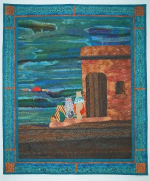 "Southwestern Pots, rayon on cotton, 22 1/2""x27, © 2004 Joni Beach. Raw edged fused-applique, free-cutting, pieced, starched & rolled fabric details, free motion quilting."