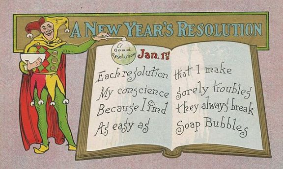Postcard New Years Resolution Soap Bubbles 1909