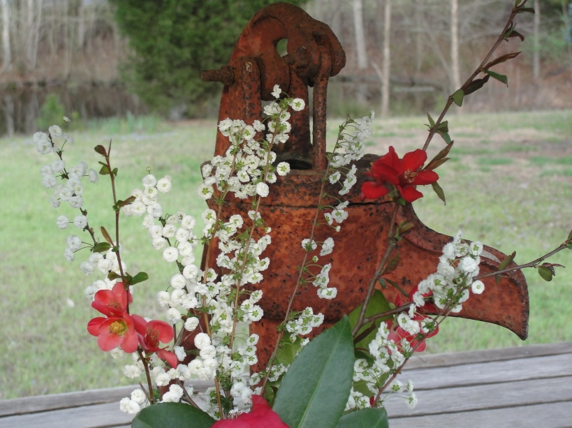 Spring Blossoms and a Rusty Pump, (c)2012 Joni Beach.