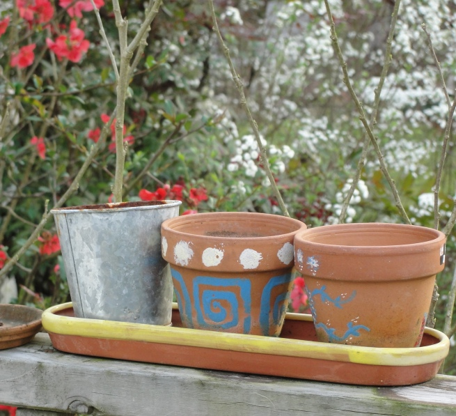 Painted Flowerpots in a Row...(c) 2012, Joni Beach.