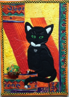 "Meow, Mr. Whiskers, rayon on cotton, 7 1/4"" x 10"", © 2013 Joni Beach. ($125)"