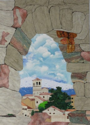 "The Present Through the Past (Roman Aqueduct, Segovia), 19 1/2""x 27 1/2"", rayon and cotton on cotton. © 2014 Joni Beach. Applique, threadpainting, free-motion quilting."