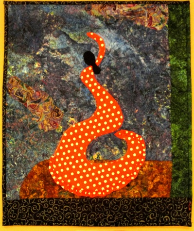 "Flamenco Swirl #1 on Exhibit, 19"" x 15 3/4"", rayon on cotton. © 2014 Joni Beach."