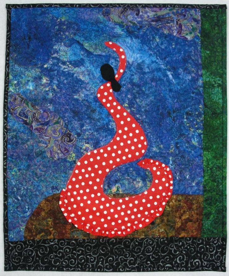 Flamenco Swirl #1, rayon on cotton, © 2014 Joni Beach. Raw-edge applique, free-motion quilting.(Private Collection)